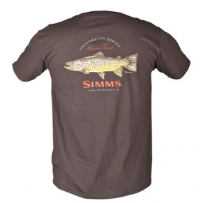 T-Shirt Currier Brown Trout SS Ch. Brown M Simms - Фото