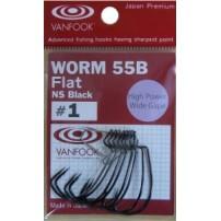 Worm55B Flat NS Black (4) крючки офсетные 8шт