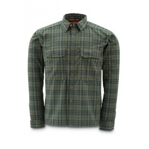 Coldweather Shirt Black Olive Plaid L рубашка Simms - Фото