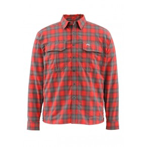 Coldweather Shirt Fury Orange Plaid XXL рубашка Simms - Фото