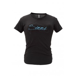 Women's Fish Script T-Shirt SS Black L Simms - Фото