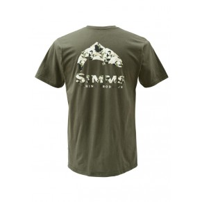 T-Shirt Trout Camo SS Olive L Simms - Фото