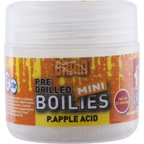 Mini Boilies P.apple acid (ананас) Pre drilled 10mm 20gr бойлы Brain - Фото