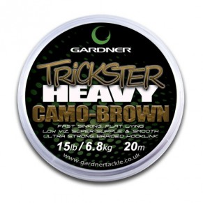 Trickster Heavy Camo Brown 25lb (6.8kg) поводочный материал Gardner - Фото