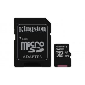 MicroSDXC 64GB Class 10 UHS-I + SD адаптер карта памяти Kingston - Фото