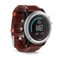 Fenix 3 Sapphire Silver with Leather Band, Garmin