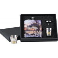 Bass Flask w/shot glasses Riversedge