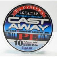 CAST AWAY PE 150м #0.6 10LB/4,2кг шнур Sunline