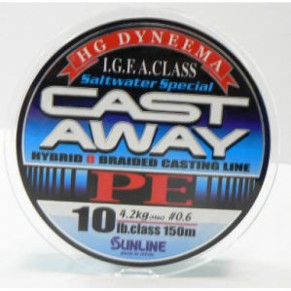 CAST AWAY PE 150м #0.6 10LB/4,2кг шнур Sunline - Фото