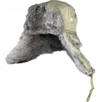 302764-L шапка-ушанка на нат. меху зелёная Norfin