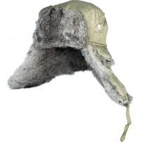 302764-L шапка-ушанка на нат. меху зелёная ...