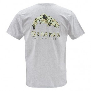 T-Shirt Trout Camo SS Ash Grey XXL футболка Simms - Фото