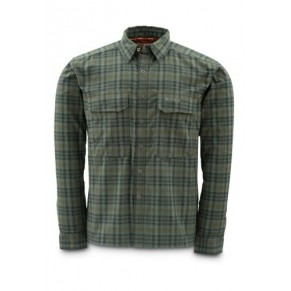 Coldweather Shirt Black Olive Plaid S рубашка Simms - Фото