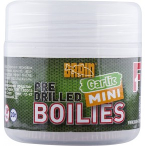 Mini Boilies Garlic (чеснок) Pre drilled 10mm 20gr бойлы Brain - Фото