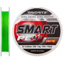 Smart PE 4x 150м #0.5/0.117мм 3.6кг салат. шнур Favorite