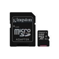 MicroSDXC 64GB Class 10 UHS-I + SD адаптер карта памяти Kingston
